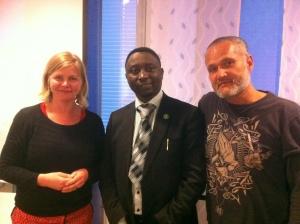 Frank Habineza besöker Miljöpartiet i Nacka