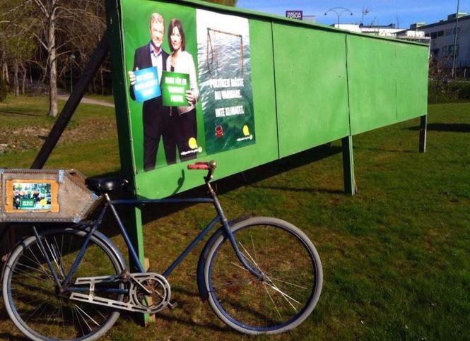 Miljöpartiet de gröna i Nacka affischerar inför valet till Europaparlamentet