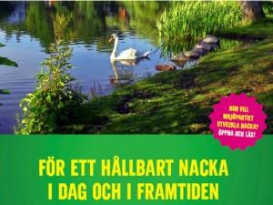 En glimt av förstasidan till Miljöpartiet i Nackas valmanifest 2014
